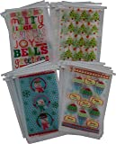 """48 Christmas cookie bakery bags for small, Pastries or Candy; translucent plastic with Resealable tie tab; 8.5"""" x 5"""" no gusset, Holiday designs, 12 of each design, set of 48 bags"""