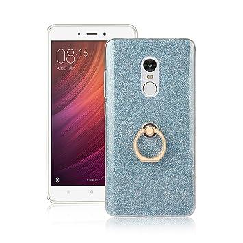 Funluna Xiaomi Redmi Note 4 Funda Dedo, Carcasa de Glitter Bling Silicona con 360 Grados Rotating Soporte Anti-Gota Anillo Bumper Case para Xiaomi ...