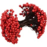BBTO Artificial Holly Christmas Berries on Wire Stems, 250 Stems with 500 Pieces 8 mm Fake Berries for Xmas Tree Decorations Wreath Craft Use Wedding Party Favor (Red)