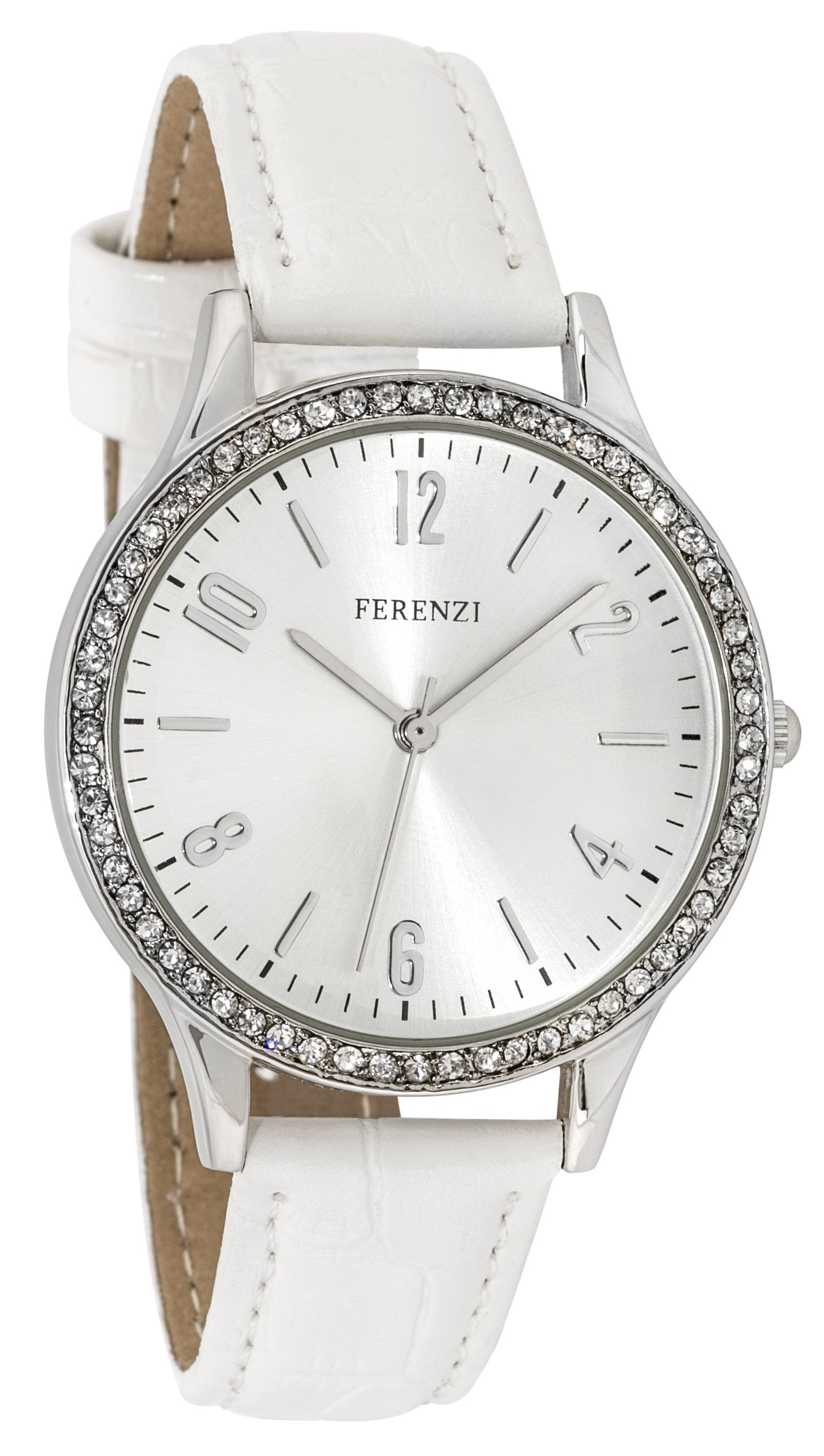 Women's Watches by Ferenzi - Classic White Rhinestones Watch - Make Every Second Count - FZ17603