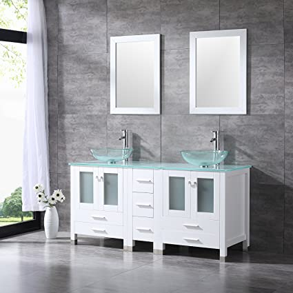 Bestmart INC 60 Inches Bathroom Double Clear Glass Vessel Sink Tempered  Glass Countertop White Vanity Wooden