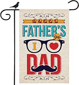 Shmbada Happy Father's Day Welcome Burlap Garden Flag I Love Dad Double Sided Vertical Outdoor Decorative for Home Yard Lawn Porch Patio Farmhouse, 12.5 x 18.5 Inch