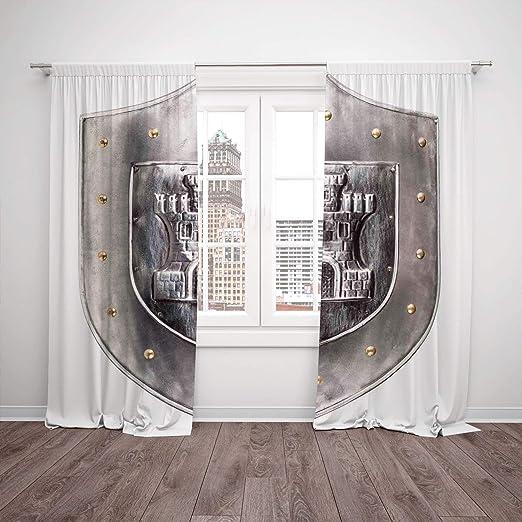 YCHY - Juego de 2 cortinas de satén para ventana de cocina ...