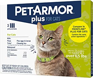 PETARMOR Plus Flea & Tick Prevention for Cats with Fipronil, Waterproof, Long-Lasting & Fast-Acting Topical Cat Flea Treatment