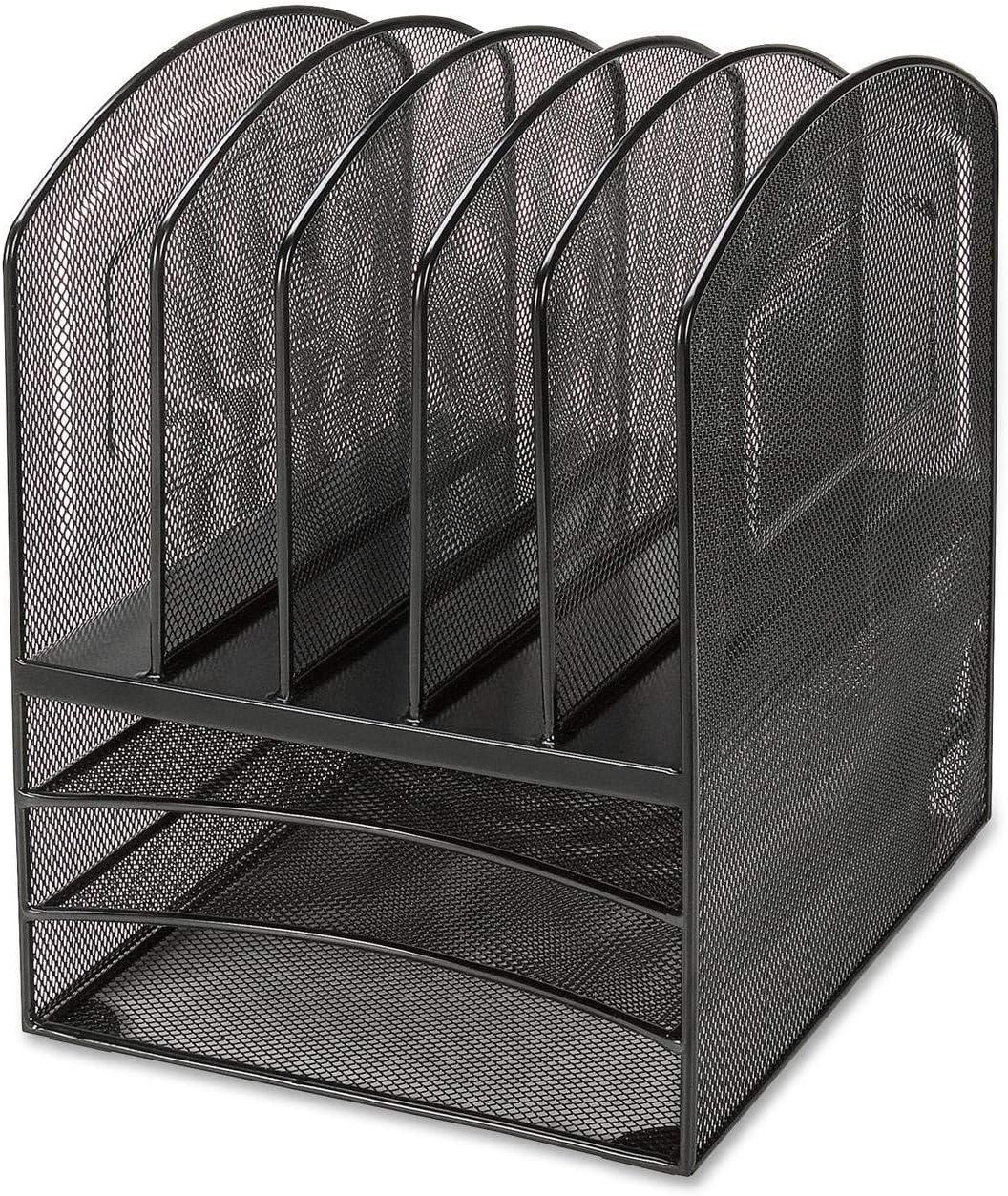 Lorell 95255 Desk Organizer,5-Vert./3-Horz,9-1/2-Inch x11-3/8-Inch x13-Inch,Black Mesh