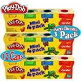 Play-Doh Mini 4-Pack of Colors (8oz) Party Favor Bundle (12 Cans & 24oz Total) - 3 Pack