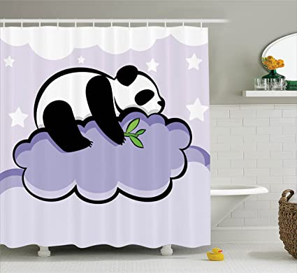 Ambesonne Animal Decor Shower Curtain Set Panda Bear Sleeping On A Cloud In Starry Night