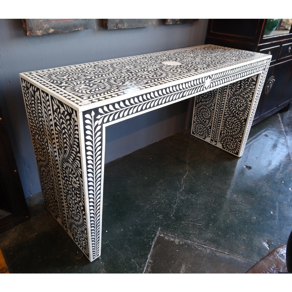 Bone Inlay Modern Antique Handmade Console Table by Antique Rustic