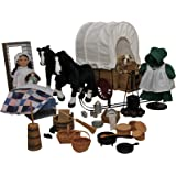Complete Little House on the Prairie 18 Inch Laura Ingalls Doll and 42 Pc American Pioneer Wagon, Sleigh, 2 Horses, Bulldog, Dishes, Kitchen Tools, Cooking Set + Amazing Prairie Accessory Set