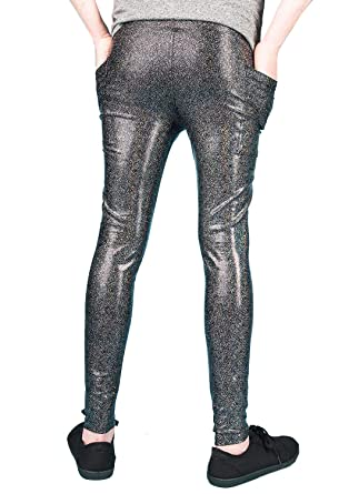 3ffa18a183ec8 MADWAG Holographic Meggings with Pockets/Men's Leggings/Pants - 3 Color  Options at Amazon Men's Clothing store: