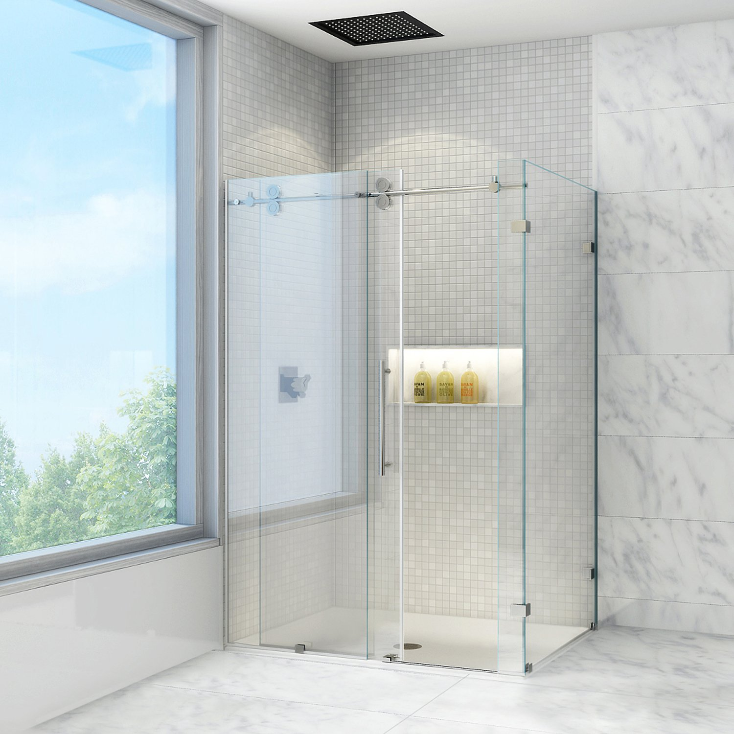 Vigo winslow 36 x 48 in frameless sliding shower enclosure with vigo winslow 36 x 48 in frameless sliding shower enclosure with 375 in clear glass and chrome hardware shower doors amazon eventshaper