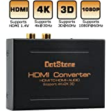 HDMI Audio Extractor Splitter HDMI In to HDMI Out + Optical Audio TOSLINK SPDIF+ Digital Analog RCA L / R Stereo Audio Splitter Converter Adapter Support 4K@30Hz 1080P Full HD 3D by DotStone