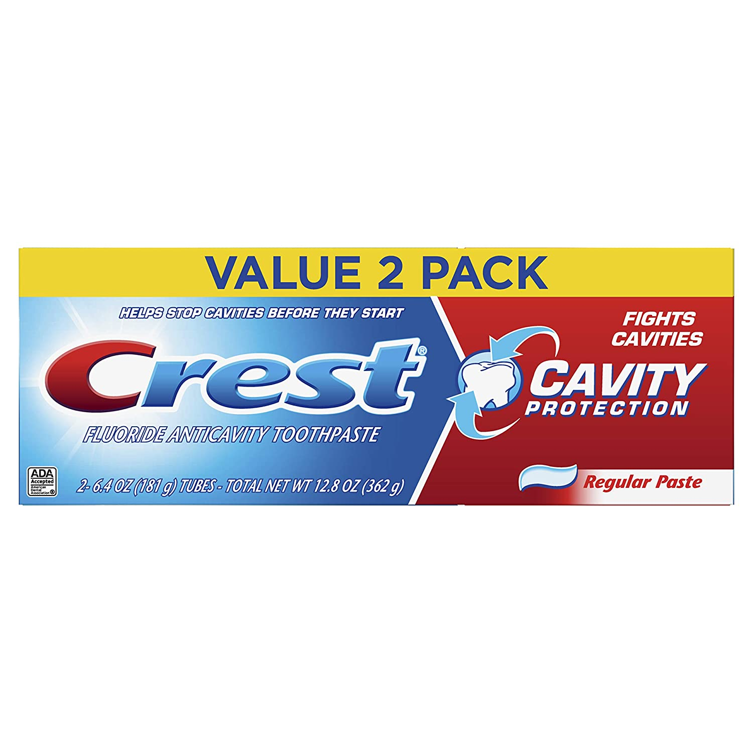 Crest Cavity Protection Fluoride Anticavity Toothpaste, Regular Paste, Twin Pack