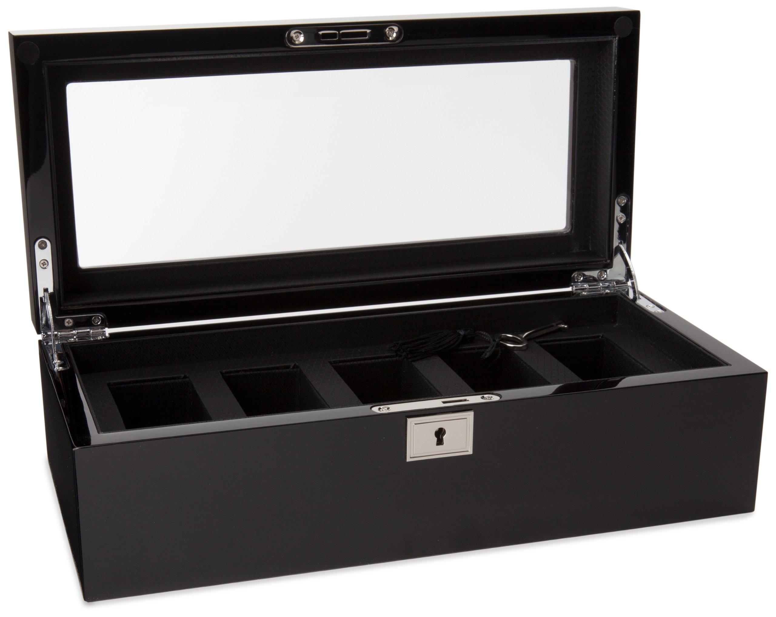WOLF 461570 Savoy 5 Piece Watch Box, Black by WOLF