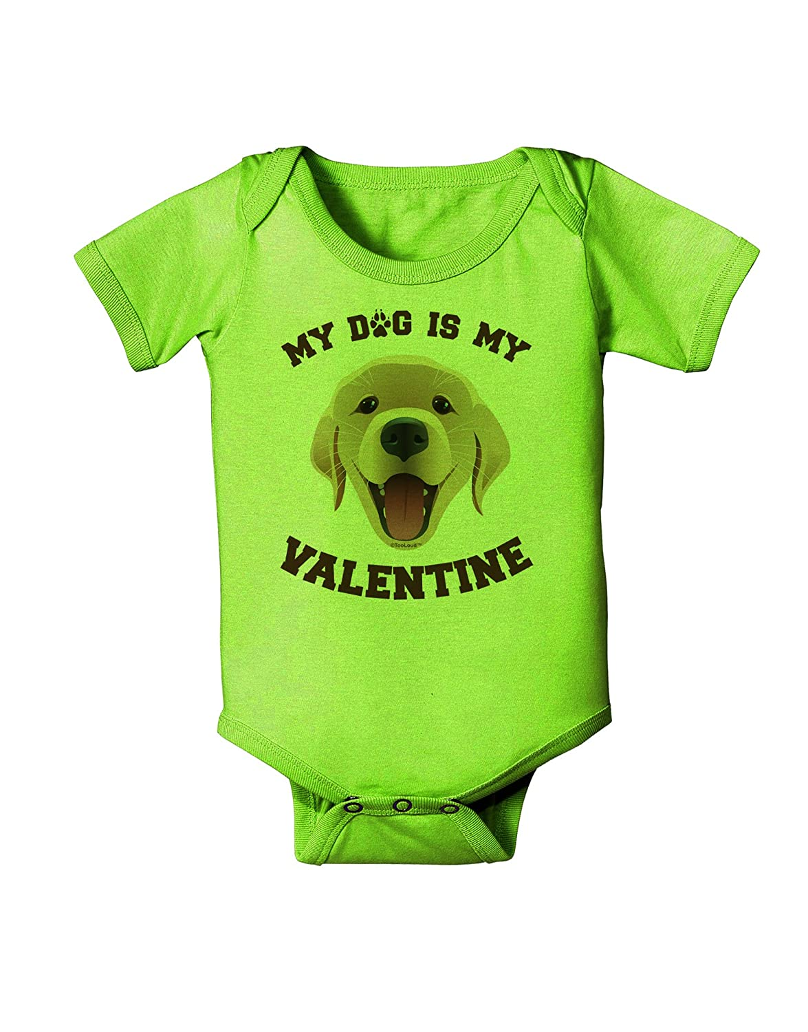 TooLoud My Dog is My Valentine Gold Yellow Baby Romper Bodysuit