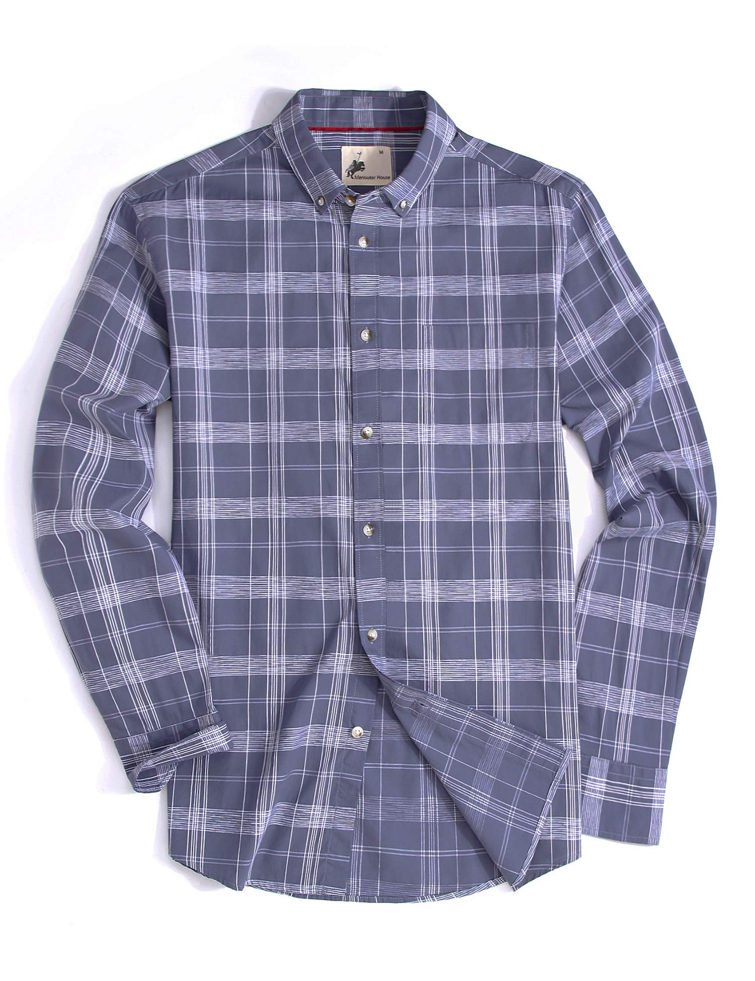 Menswear House Mens Casual Button Down Plaid Shirt Long Sleeve Cotton Regular Fit Dress Shirts (Grey, XXL)