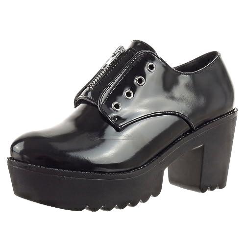 Sopily - Zapatillas de Moda zapato derby Zapatillas de plataforma Tobillo mujer Cremallera Talón Tacón ancho alto 7.5 CM - Negro CAT-XH956 T 41: Amazon.es: ...