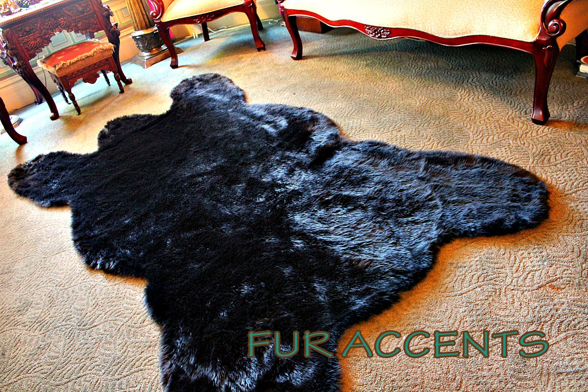 Amazon.com: Fur Accents Classic Black Bear Skin Area Rug Faux Fur 5u0027x7u0027:  Kitchen U0026 Dining