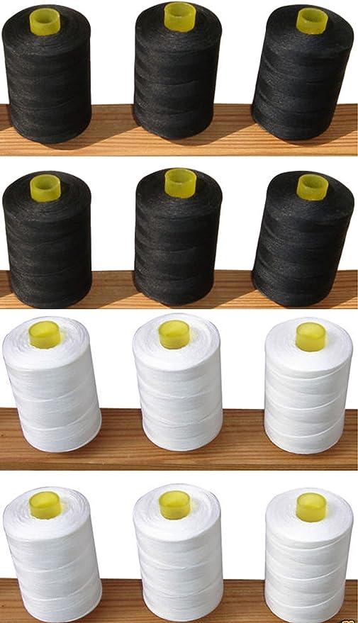 12 hilos de algodón hilo de coser 100% Pure (6 color blanco + 6 ...
