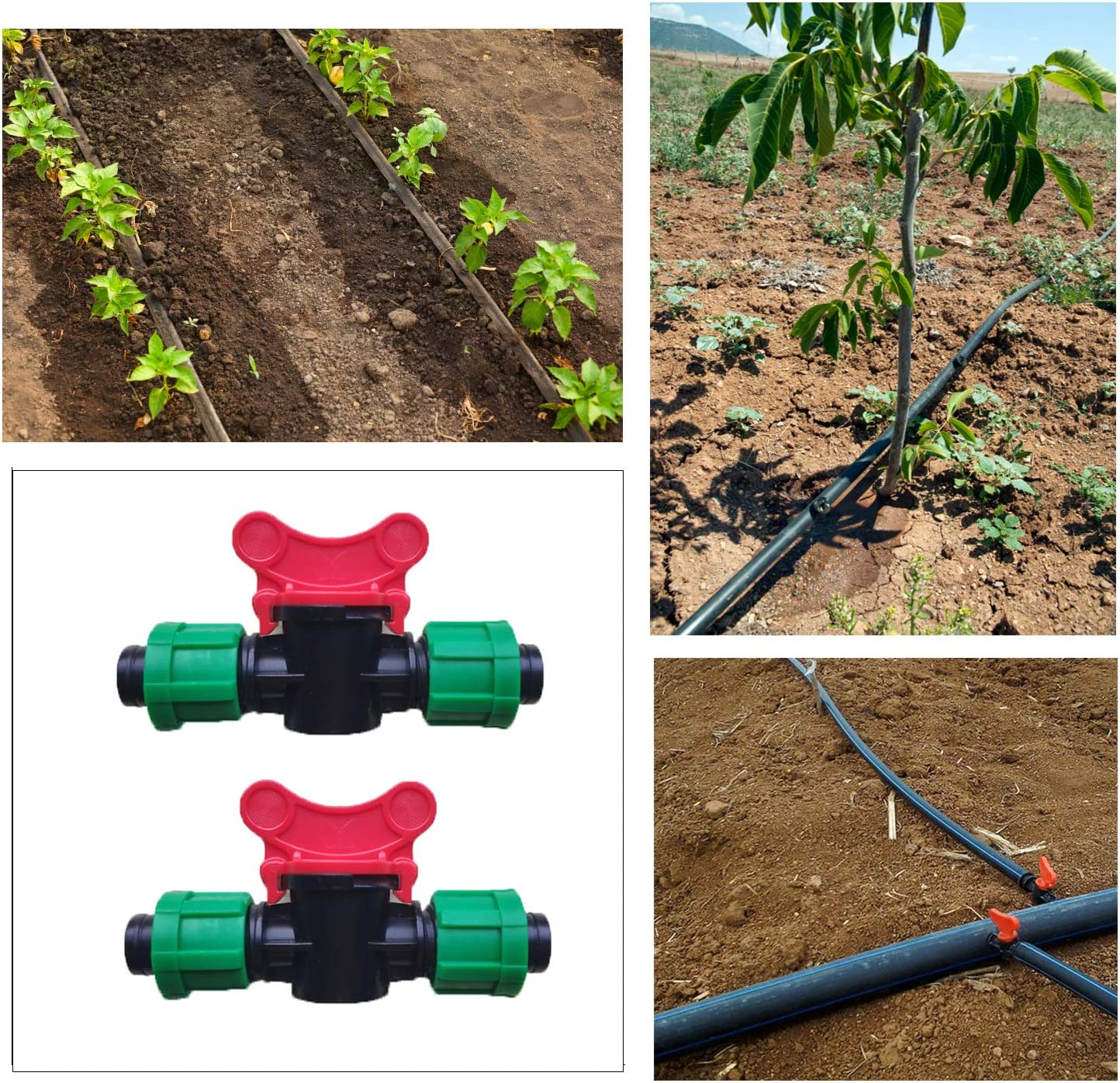"QUECAOCF 8 Pieces 1/2"" Universal Shut Off Valve Drip Irrigation Tubing, Compatible with 16-17mm Drip Tape Tubing Sprinkler System : Garden & Outdoor"