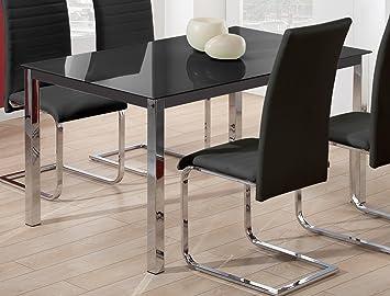 Mesa para comedor fija de cristal templado negro con patas cromadas ...