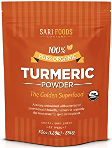 Natural Organic Turmeric Powder (30 Ounce): Natural, Vegan, Whole Food Based Curcumin Superfood Supplement. The Golden, Antioxidant Spice