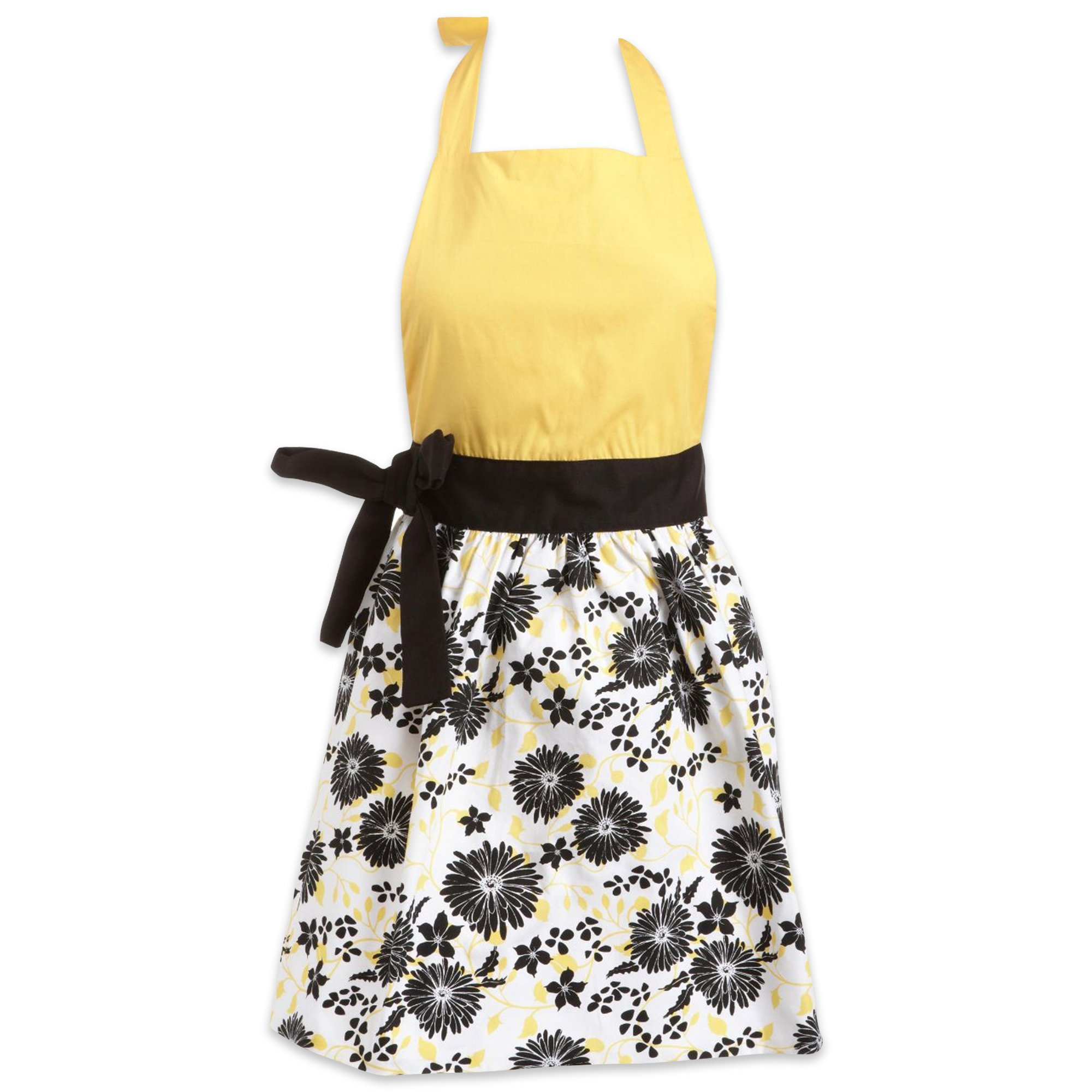 DII 100% Cotton, Trendy, Fashion, Daisy Skirt Ladies Women Apron, Kitchen Chef Adult Apron, Adjustable Neck & Waist Ties, Perfet for Gift, Cooking, Baking, Crafting- Black