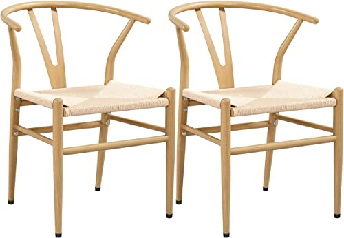Yaheetech Weave Arm Chair Y-Shaped Backrest Mid-Century Metal Dining Chair Hemp Seat Set of 2