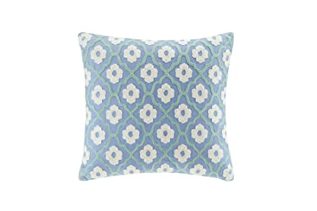 Echo Design Kamala Fashion Cotton Throw Pillow, Global Inspired Embroidered Square Decorative Pillow, 18X18, Blue Ivory