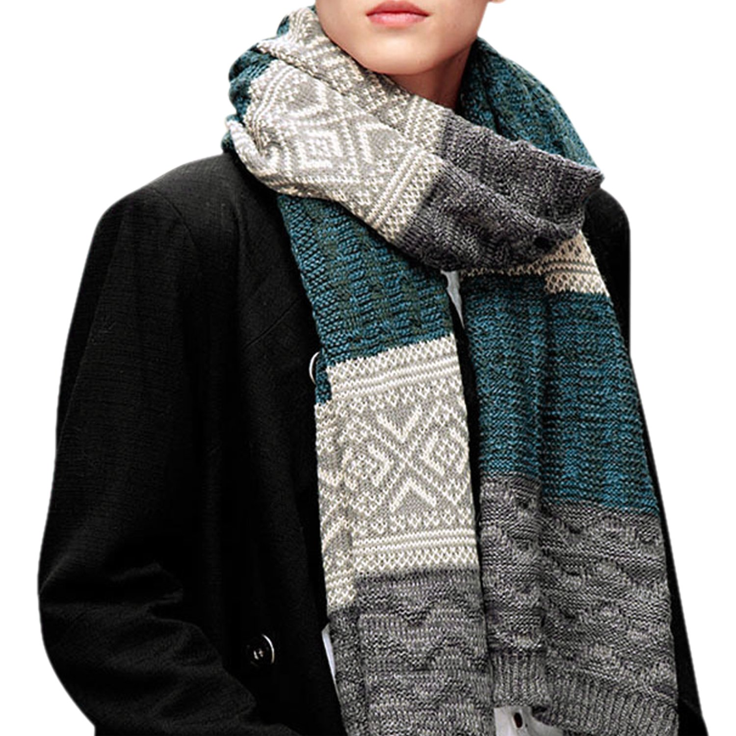 CHIC-CHIC Men's Retro Winter Warm Knitted Soft Thermal Scarf CH9020
