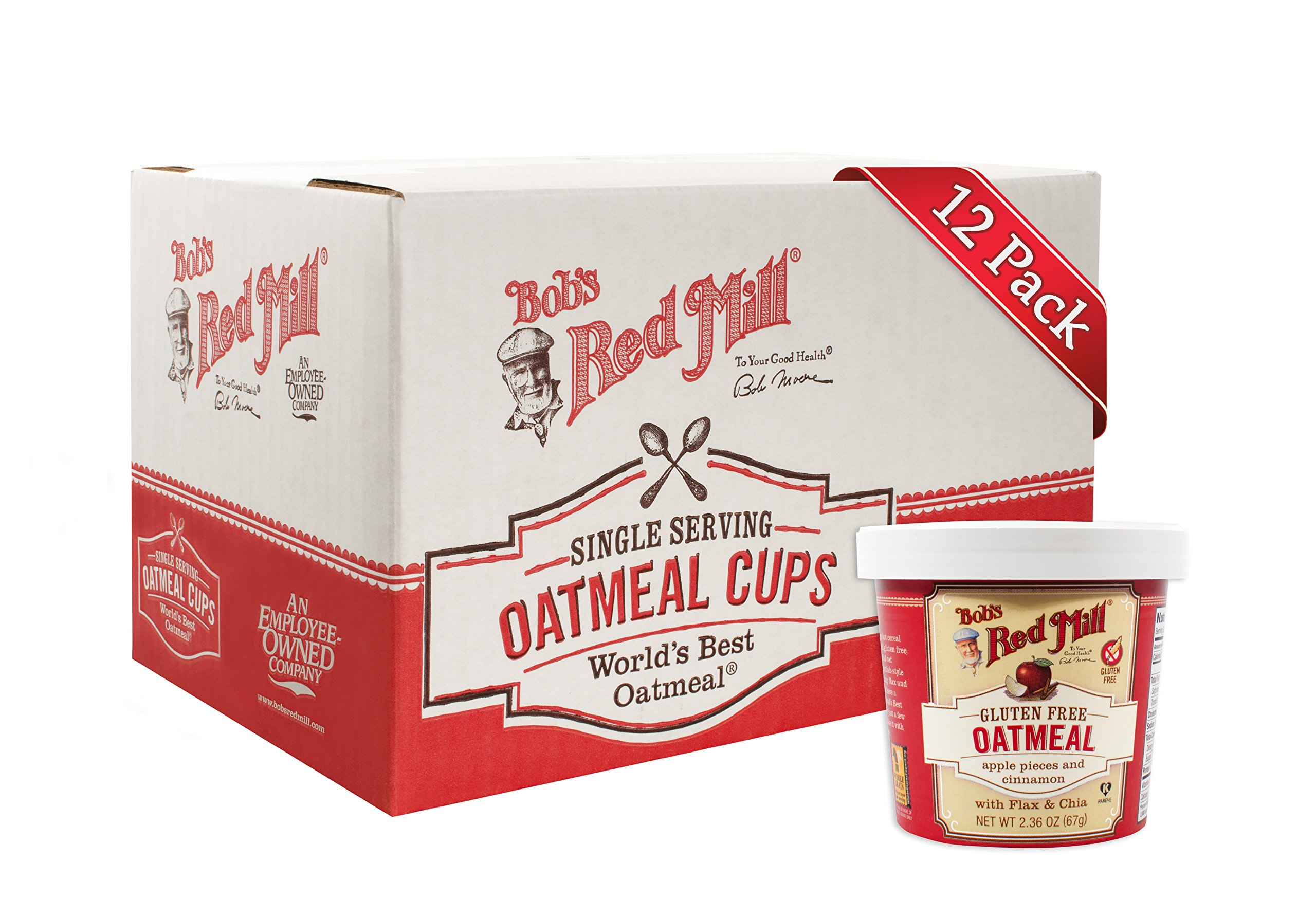 Bob's Red Mill Gluten Free Oatmeal Cup Apple & Cinnamon, 2.36-ounce (Pack of 12)