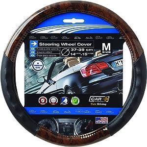 """SUMEX Wood Grain Steering Wheel Cover Black fits All 14.5"""" to 15.5"""" Steering Wheels (Dark Wood Grain)"""