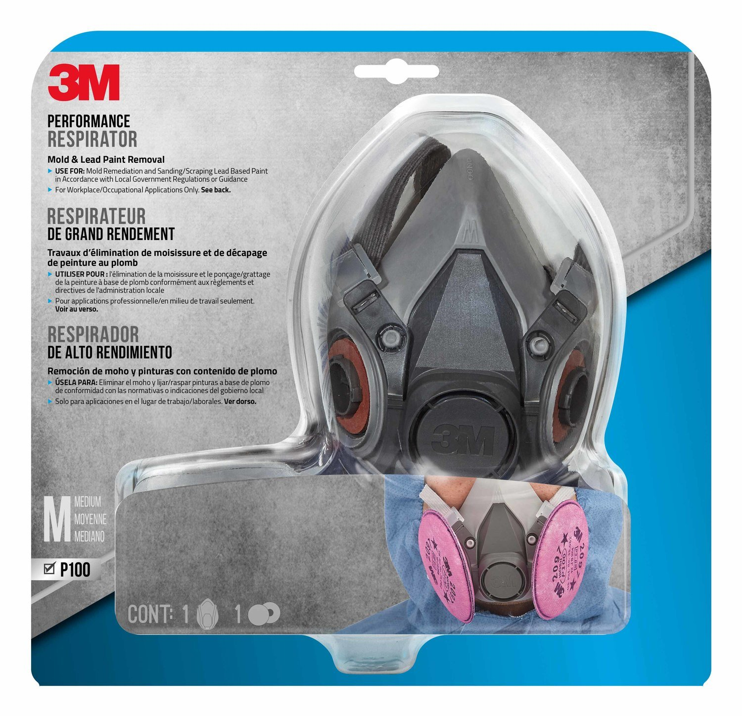 3M Mold and Lead Paint Removal Respirator, Medium - 6297PA1-A by 3M Safety