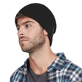 c09287ce484 LETHMIK Fleece Lined Beanie Hat Mens Winter Solid Color Warm Knit Ski Skull  Cap Black at Amazon Men s Clothing store