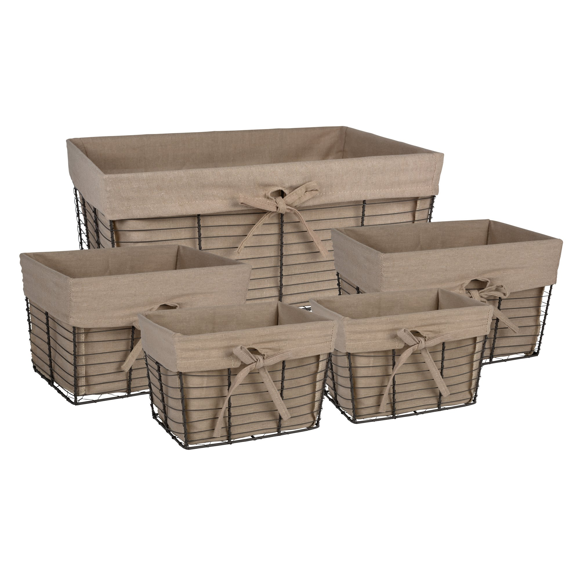 DII Home Traditions Vintage Metal Chicken Storage Basket with Removable Liner, Set of 5 Mixed Nesting Sizes, Desert Taupe Fabric with Grey Wire