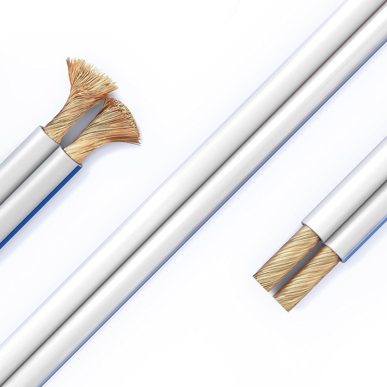 PureLink SP060-100 Cable de Altavoz 2x2.5 mm/² 99.9/% OFC Alambre de Cobre s/ólido 0.20mm Transparente Cable de Altavoz de Alta fidelidad 100m