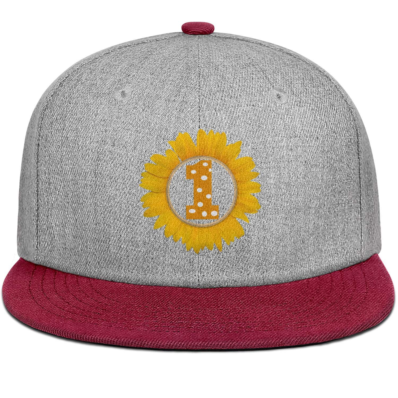 1st First Birthday Sunflowers 2 Men Womens Wool Ball Cap Adjustable Snapback Sports Hat