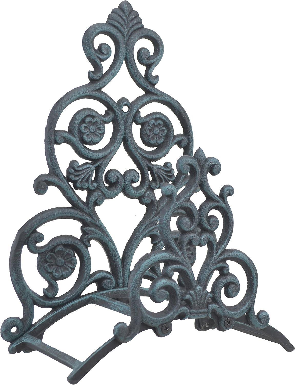 "Import Wholesales Floral & Spade Wall Garden Hose Holder Hanger Verdigris Cast Iron 13.25"" Tall"