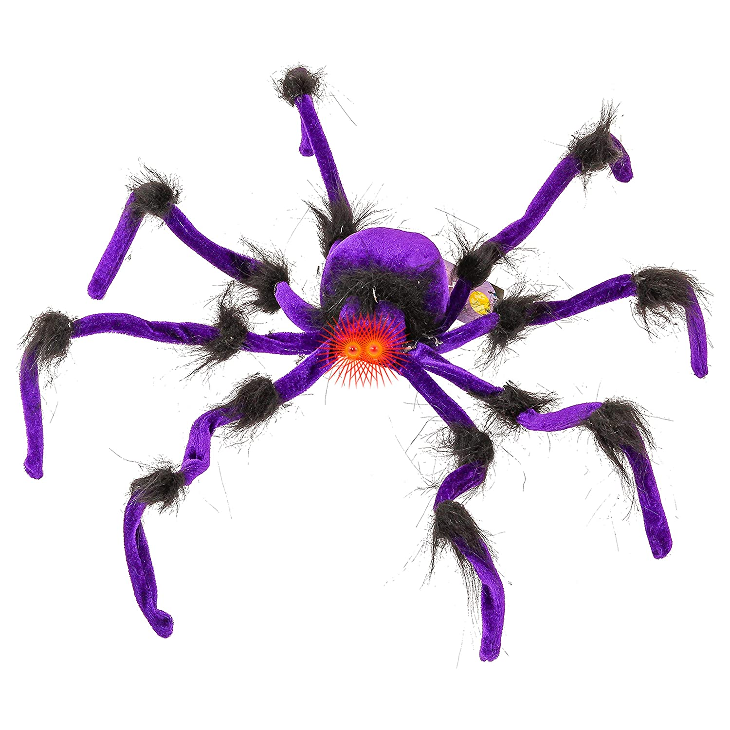 Halloween Haunters 28 Oversized Realistic Scary Black Fury Spider with Red LED Eyes and Multiple Color Flashing Body Prop Decoration Place In Web Tree Entryway Yard Lawn Haunted House Graveyard