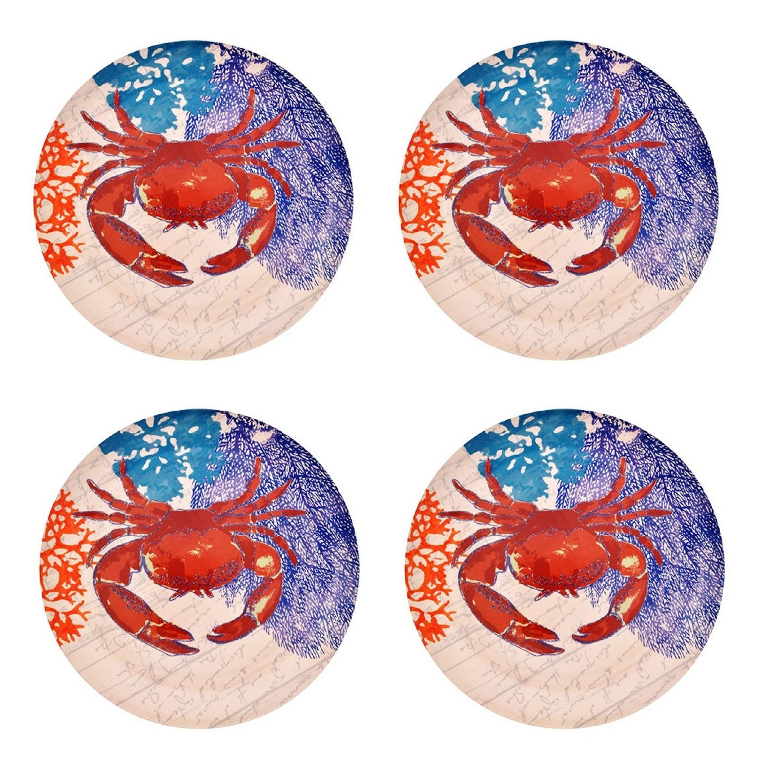 Set of 4 Classic Red Crab Print Design Melamine Plastic Plates (Kitchen BBQ Party - Coral Reef Sea Life Coastal Ocean)