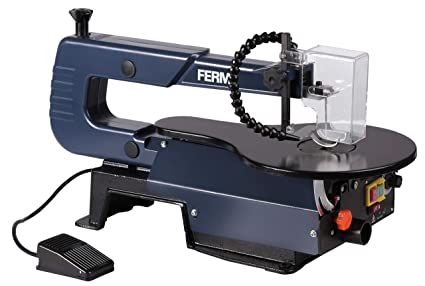 FERM Fret Saw - Scroll Saw - 120 W - Foot pedal switch - 0-45° Adjustable -  Including 3 Different Saw Blades (10, 15, 25 TPI)