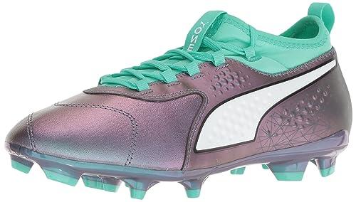 ffb6cddce PUMA Men's ONE 3 IL LTH FG Soccer Shoe, Color Shift-Biscay Green White