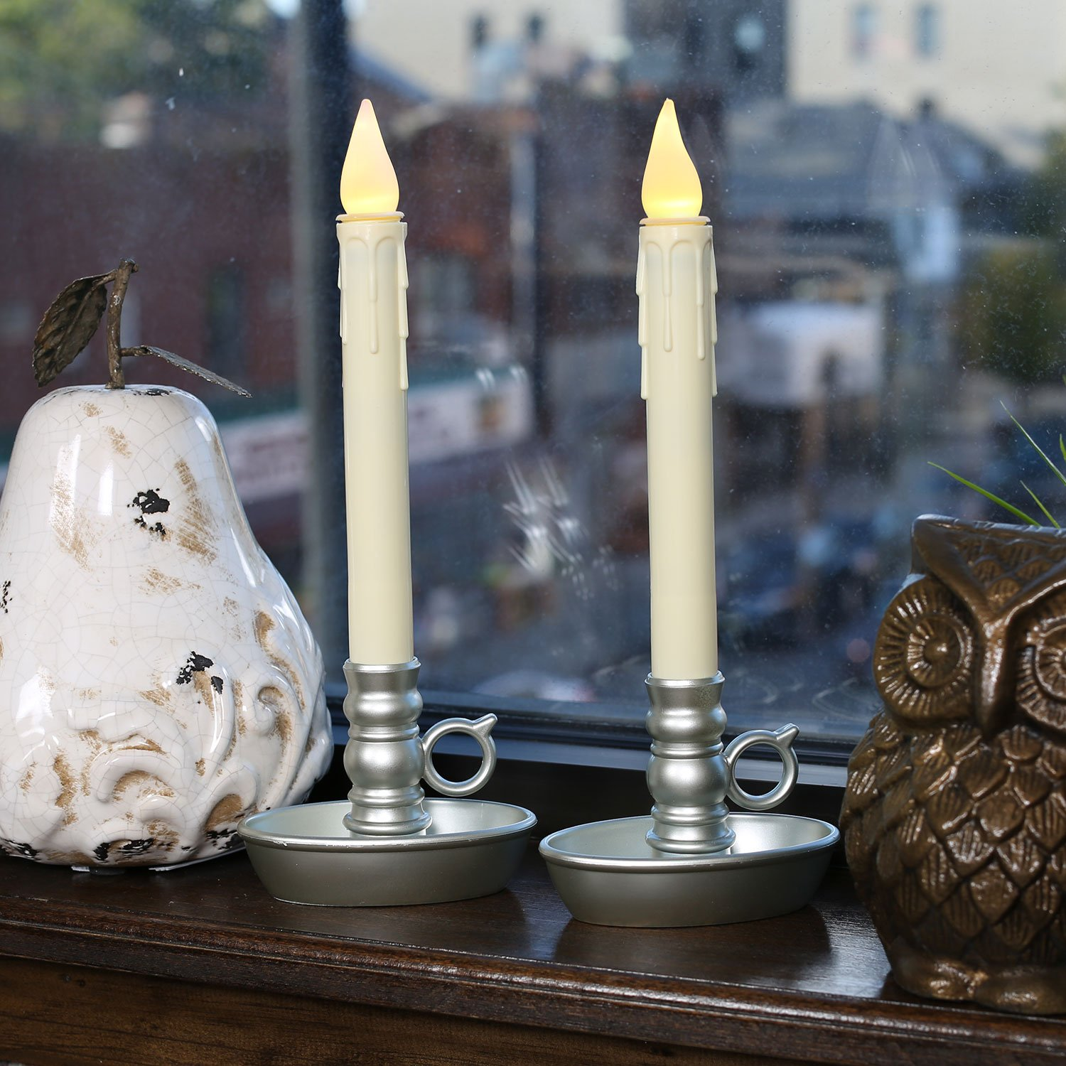 Amazon Battery Operated LED Window Candles with Timer Silver