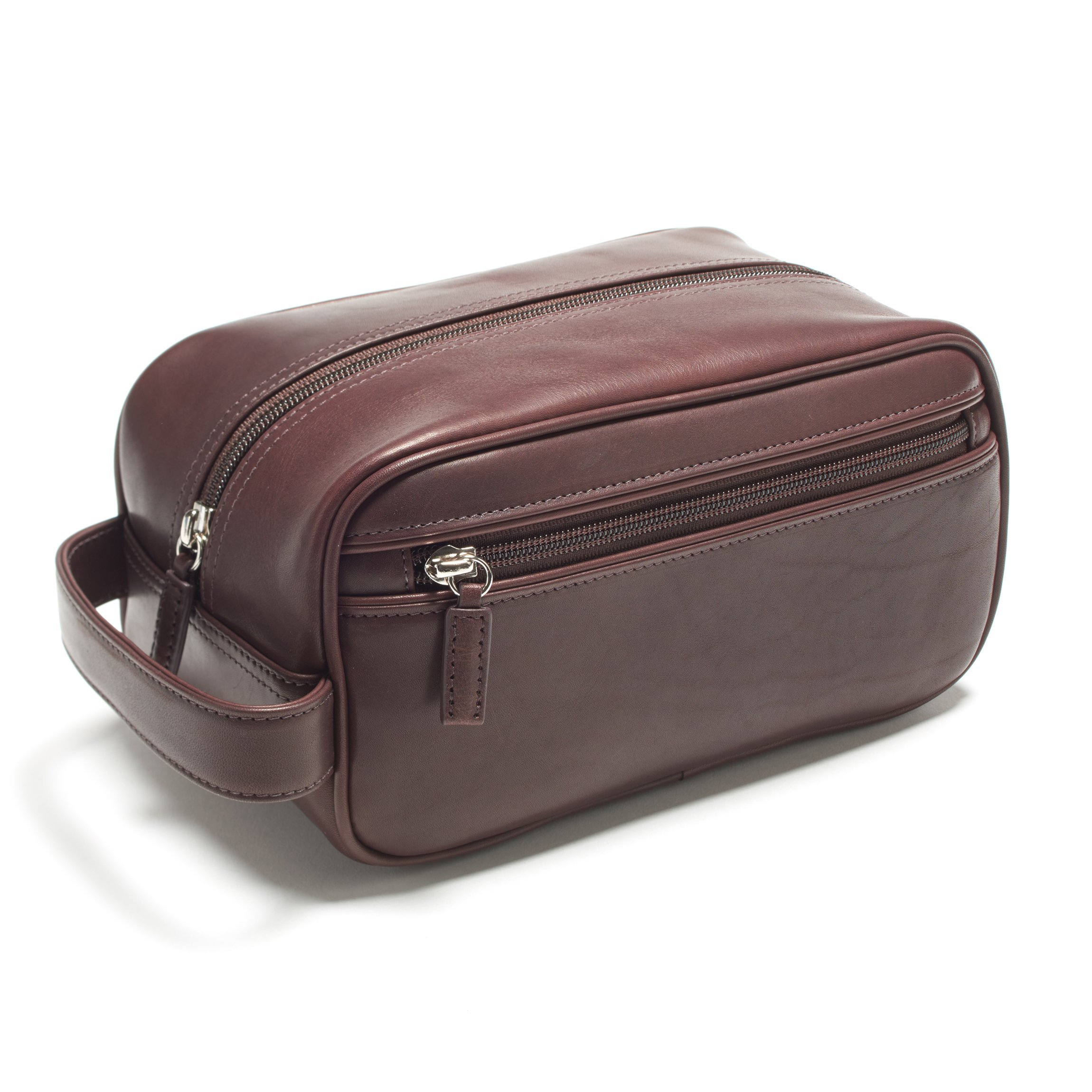 Leatherology Small Shave Toiletry Bag - Full Grain German Leather Leather - Mahogany (brown)
