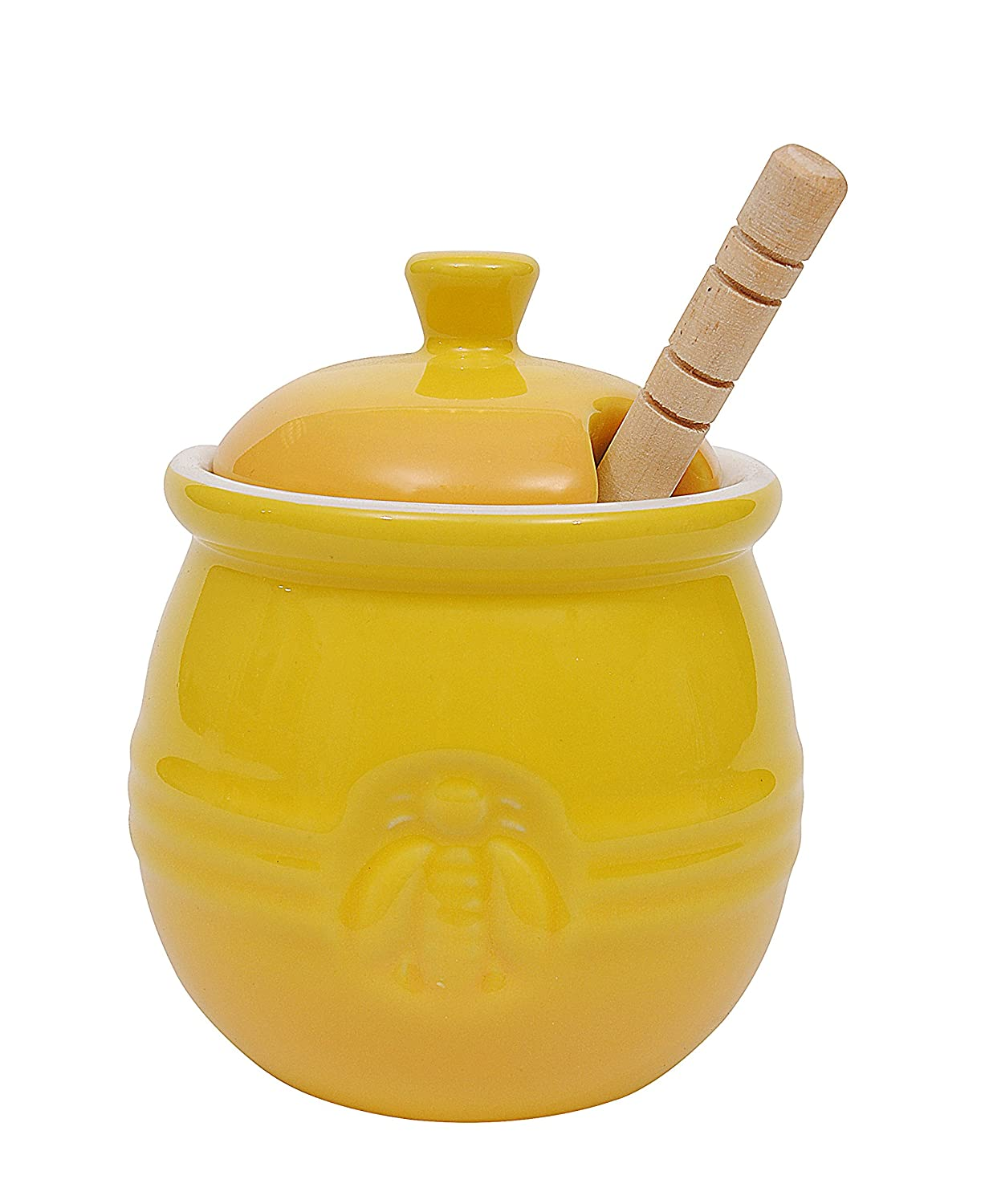 Creative Co-Op DA4177 Yellow Stoneware Honey Pot with Lid & Wood Honey Dipper