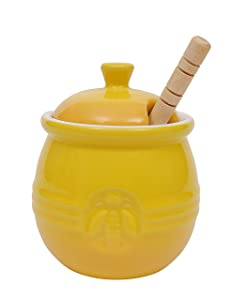 Creative Co-Op DA4177 Pot with Lid & Wood Honey Dipper, Yellow