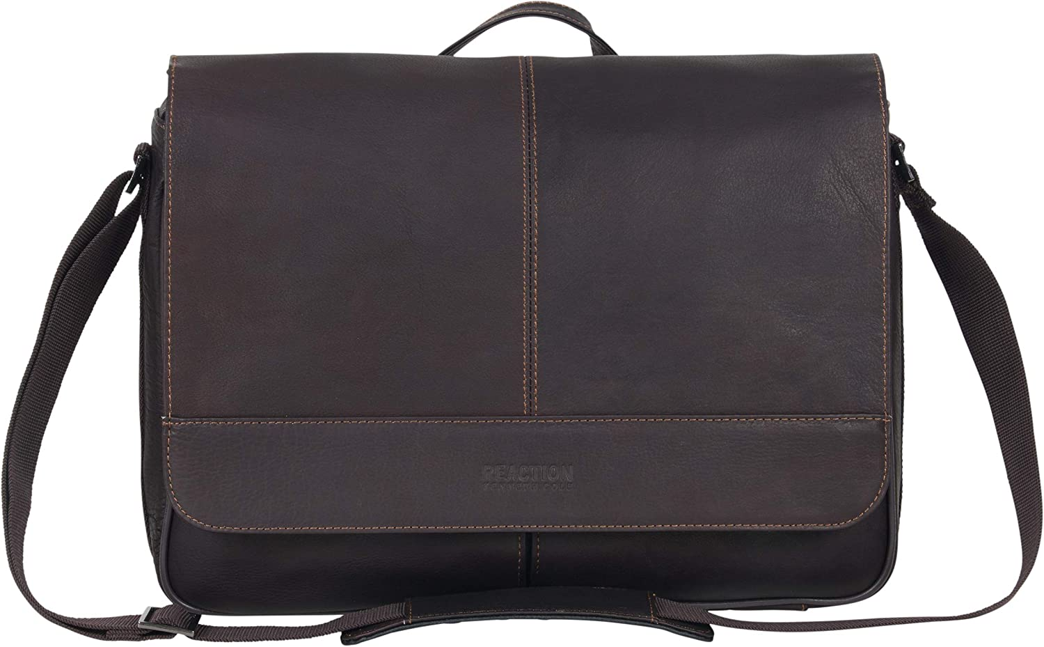 Kenneth Cole Reaction Risky Business Full-Grain Colombian Leather Crossbody Laptop & Tablet Flapover Messenger Bag, Dark Brown, One Size
