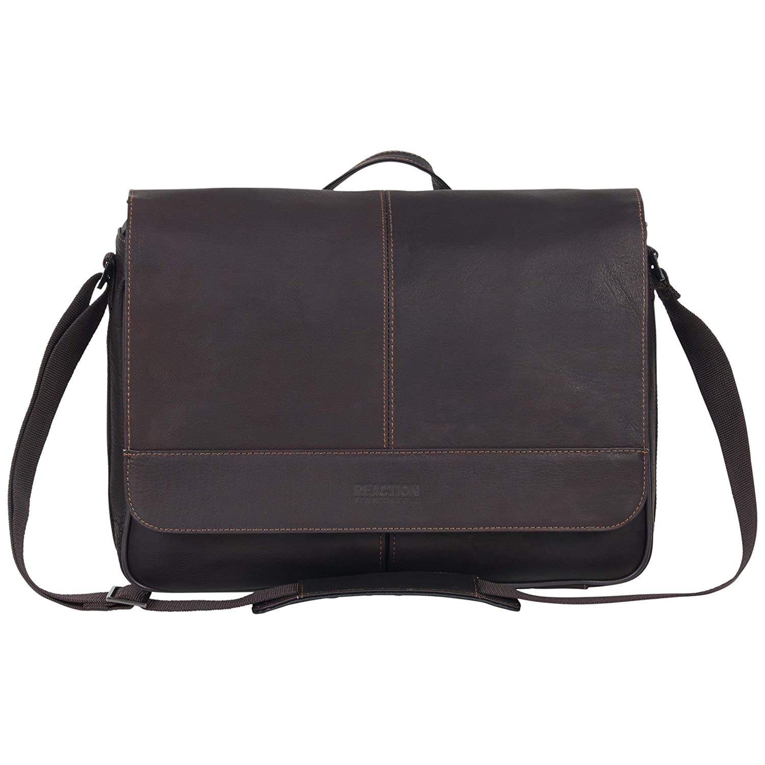 Kenneth Cole Reaction Risky Business Full-Grain Colombian Leather Crossbody Laptop Tablet Flapover Messenger Bag, Dark Brown