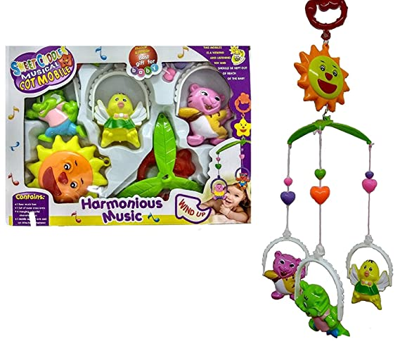 Vibgyor Vibes 5 Pcs Lovely Colourful Musical Hanging Rattle Toys with Hanging Cartoons for Toddlers/Babies/Infants/New-Borns (Multi Color)
