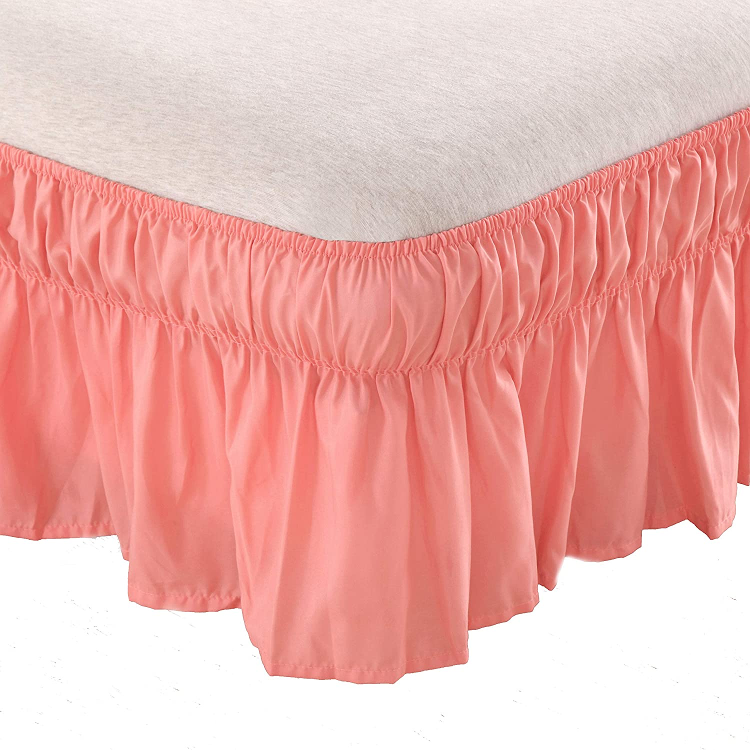 Bed Skirt-14 Inch Drop Wrap Around Ruffled (Twin/Full, White) Brushed Microfiber 1500 Adjustable Elastic Easy Fit AYASW